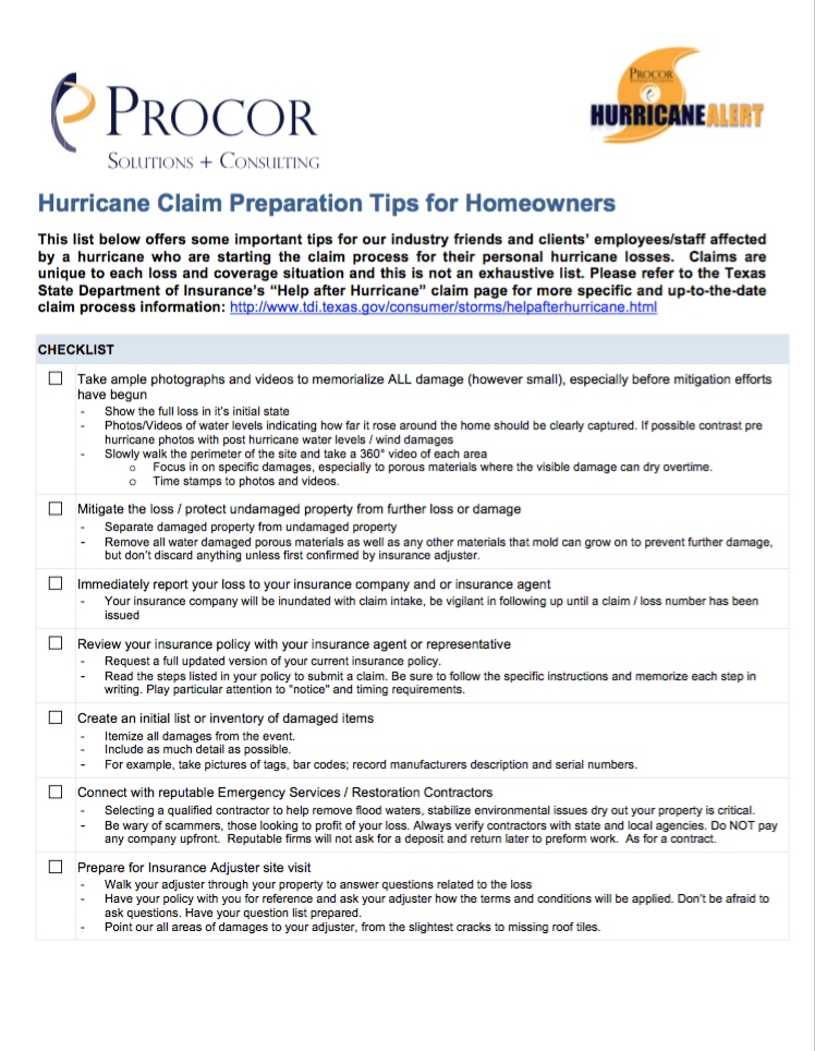 Hurricane Claim Preparation Tips For Homeowners Procor