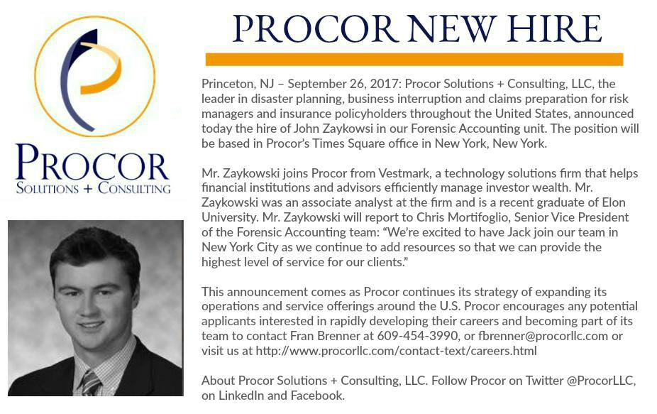 new hire announcement john zaykowski procor llc. Black Bedroom Furniture Sets. Home Design Ideas