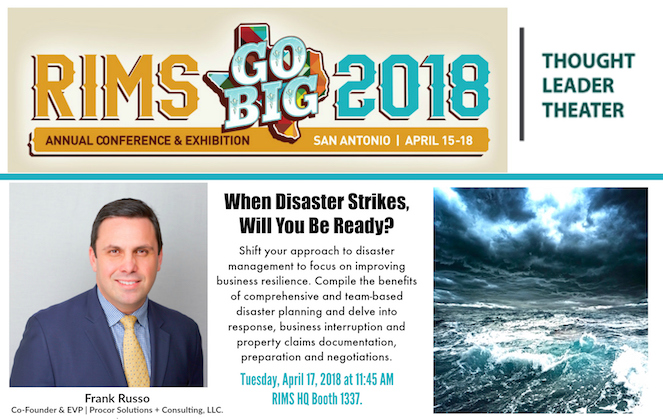 FRANK RUSSO SELECTED TO SPEAK IN THE THOUGHT LEADER THEATER AT RIMS 2018 ANNUAL CONFERENCE & EXHIBITION