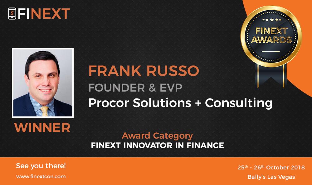 Frank Russo Winner of FiNext Innovator in Finance Awardee