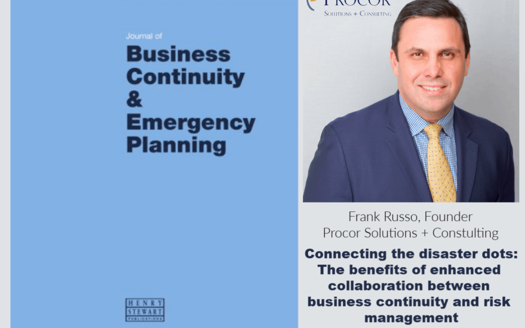Frank Russo Featured in The Journal of Business Continuity & Emergency Planning