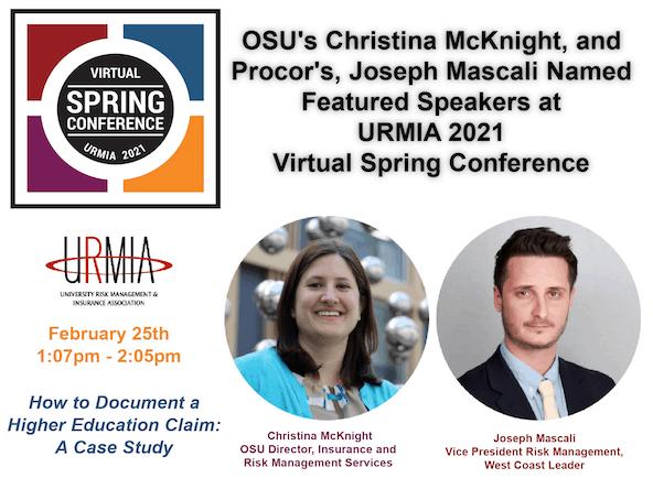 Procor's, Joseph Mascali, and OSU's Christina McKnight, Named Featured Speakers at URMIA 2021 Virtual Spring Conference